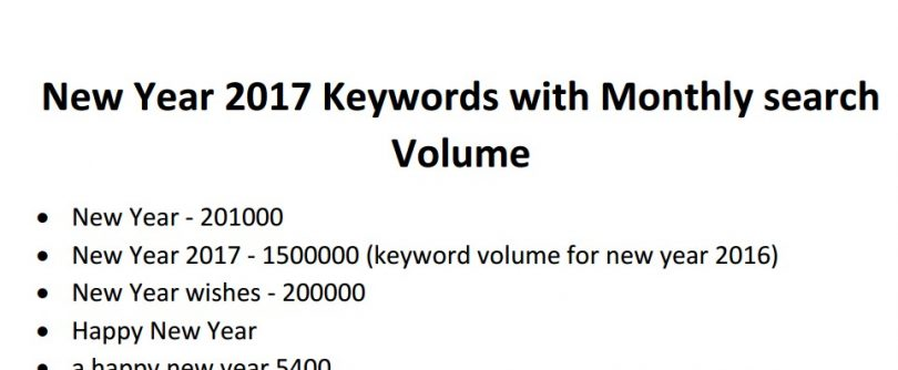 New Year 2017 Keywords list with Monthly Search Volume for Event ...