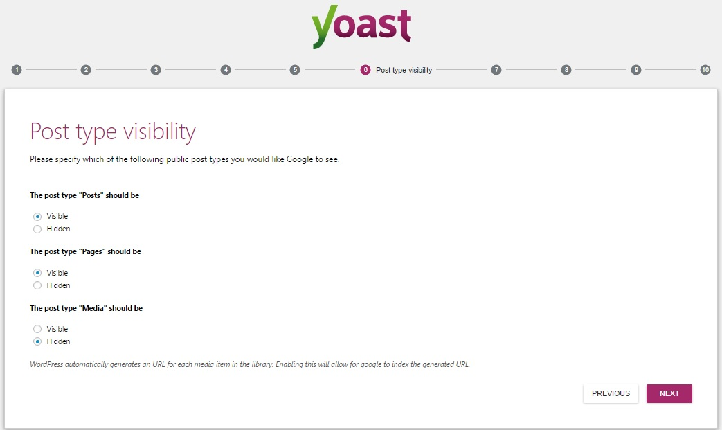 Yoast SEO WordPress Settings post type visibility