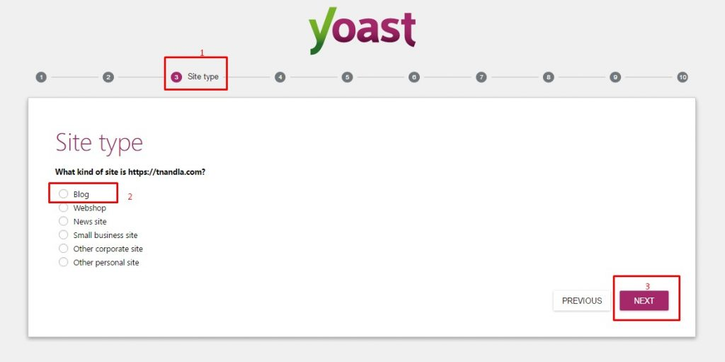 Yoast SEO WordPress Setting Wizard Site Type