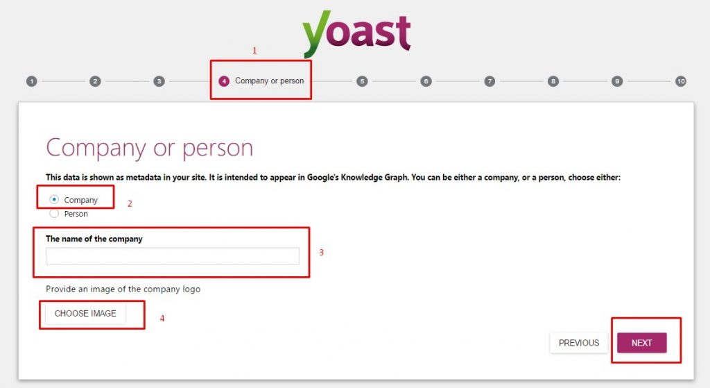 Yoast SEO WordPress Setting Wizard company or person